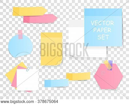 Set Of Blank Sticky Notes And Memos In Assorted Colors And Shapes For Use As Design Elements, Colore