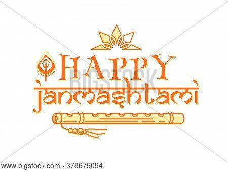 Happy Janmashtami. Krishna Janmashtami Logo Design Isolated On White. Holiday Banner For Celebrating