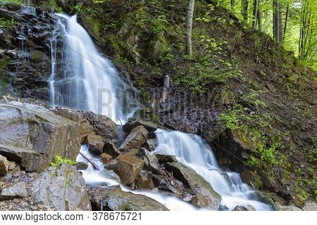Cascade Trufanets Falls In Carpathian Mountains- The Highest Natural Waterfall In Transcarpathia At