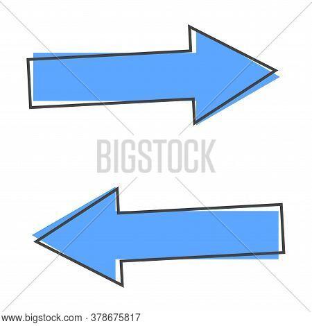 Horizontal Arrows Vector Icon. Exchange Symbol And Horizontal Reflection Cartoon Style On White Isol
