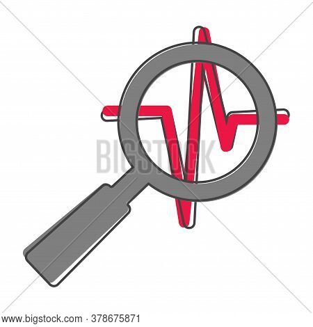 Pulse And Glass Magnifier Vector Illustration. Heartbeat Symbol Of Cardiology Cartoon Style On White