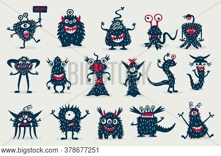 Cute Black Monster Set, Isolated On A White Background, Cartoon Monsters