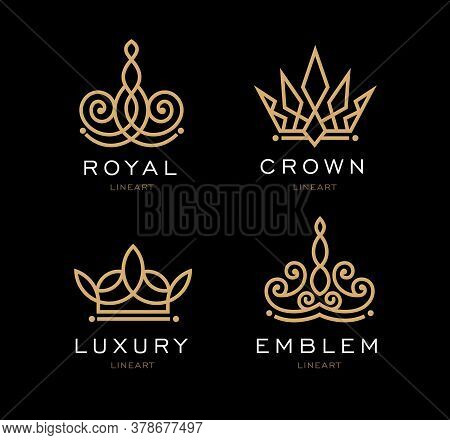 Set Of Crown Logo Templates. Vector Crown Design For Business Company, Hotel, Boutique, Restaurant,