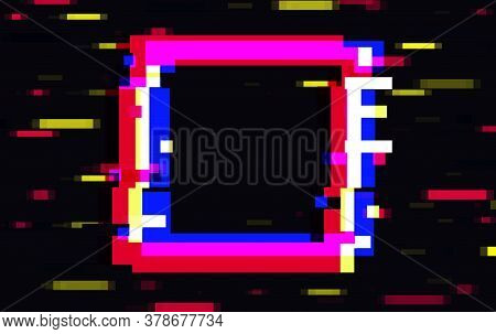 An Illuminated Square Frame With Glitch Effect And A Place For Text Distorted Glitch Style Modern Ba