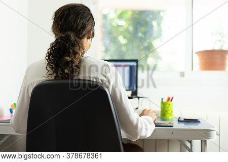 Young Brazilian Woman Working From Home