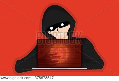 Robbers Steal Money From E-banking System. Hacker Steals Money From Bank Credit Cards Or Online Wall