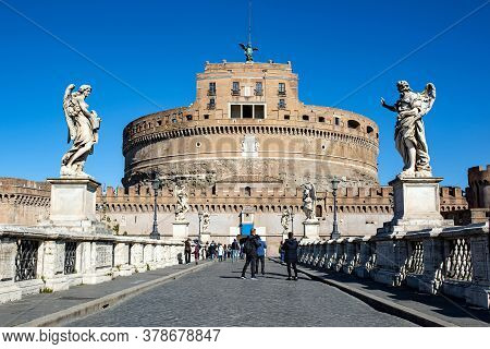 Frontal View Of The Castel Sant'angelo Against The Blue Sky In Rome, Italy