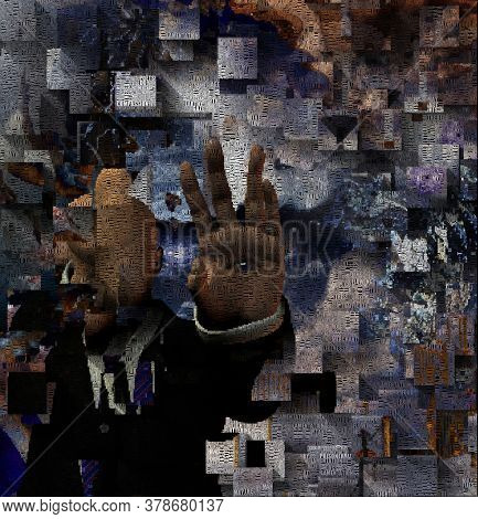 Surreal digital art. Faceless man in suit with eye on his palm. Picture is composed entirely of the words. 3D rendering