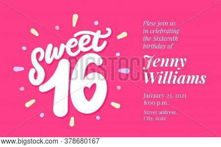 Sweet 16. Vector Lettering Invitation. Vector Hand Drawn Illustration.