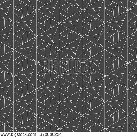 Seamless Retro Vector Triangular, Textile Texture. Repeat Decorative Graphic Poly Lattice Pattern. C