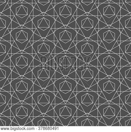 Seamless Decorative Graphic Technology, Wallpaper Pattern. Repeat Linear Vector Poly Backdrop Textur