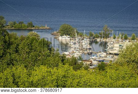 The Boats In The Marina On Lake Ontario Viewed From Above At Bluffers Point, Scarborough, Ontario, C
