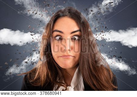 Businesswoman With Head Ready To Explode Due To Stress And Overwork