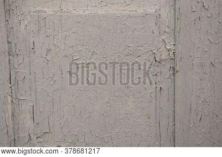 Part Of Shabby Gray Wooden Door. Horizontal Texture