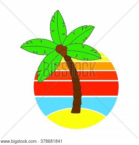 Palm Tree And Sunrise Or Sundown On Hawaii At Holidays. Circular Graphic With Paradise Poster With S