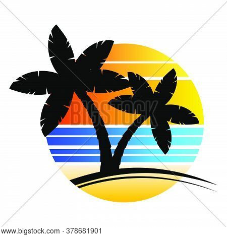 Palm Tree Sundown Or Sunrise Paradise Poster With Stripes Isolated On White. Enjoy Hawaii Trendy Ill