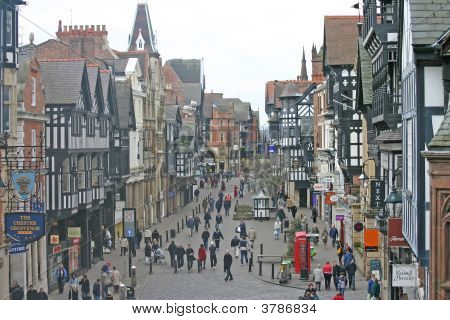 Shoppers In Chester England