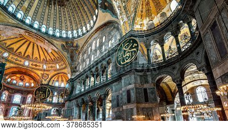 Istanbul - May 25, 2013: Inside The Hagia Sophia, Turkey. Ancient Hagia Sophia Or Ayasofya Is Top La