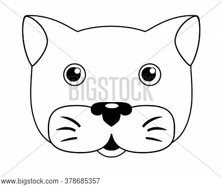 Cat Muzzle - Vector Linear Illustration For Coloring. Kitten Head - Cute Picture, For Children, For