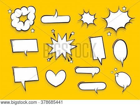 Speech Bubble For Comic Text Isolated On Yellow Background. Empty White Outline. Dialog Empty Cloud,