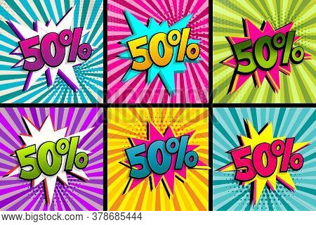 Comic Text 50 Percent Sale Set Discount. Colored Speech Bubble On Radial Background. Comics Book Exp
