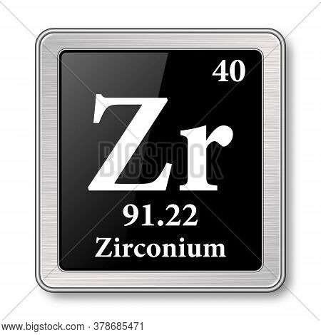 Zirconium Symbol.chemical Element Of The Periodic Table On A Glossy Black Background In A Silver Fra