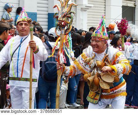 Cuenca, Ecuador - February 22, 2020: Carnival Parade In Cuenca City. Folk Dancers As Participants Of