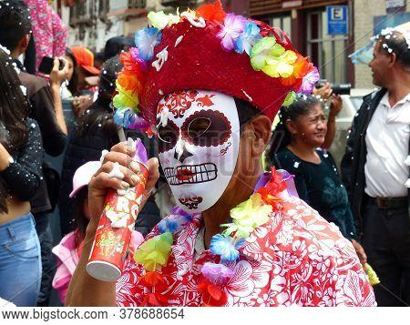 Cuenca, Ecuador - February 22, 2020: Parade During Carnival At Historical Center Of City. Man In Car