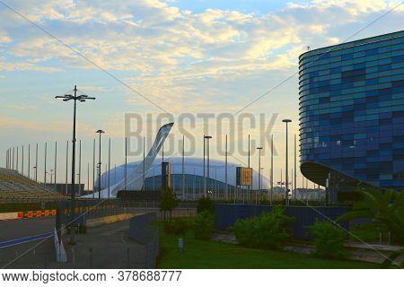 Sochi, Russia - Juny 13, 2020. Sochi Olympic Park. Iceberg Skating Palace, Bolshoy Ice Dome, Olympic