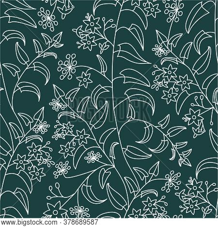 Nightshade. Floral Decorative Pattern. Seamless Pattern Of Light Outline On A Green Background