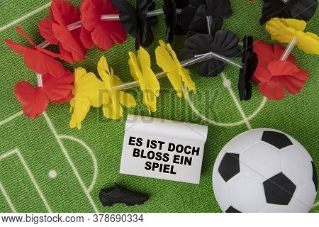 Soccer Ball With Flower Necklace In The Colors Of German Flag And Calendar. Es Ist Doch Bloss Ein Sp