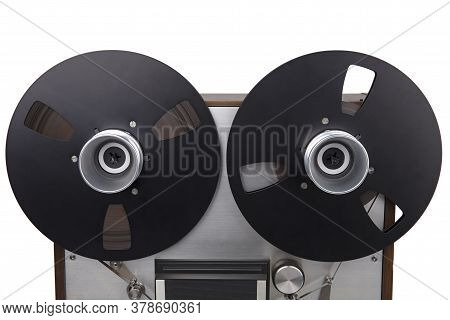 Reel To Reel Audiotape Recorder Isolated On White Background