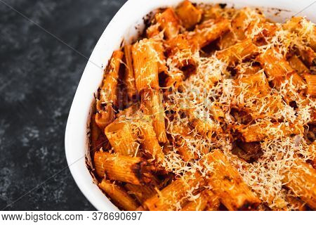 Plant-based Food, Vegan Rigatoni Pasta Bake With Red Pesto Sauce And Dairy Free Cheese