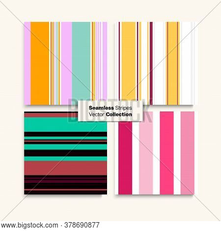 Sailor Stripes Seamless Pattern Set. Training Suit Lines Vintage Fashion Background Autumn Summer El