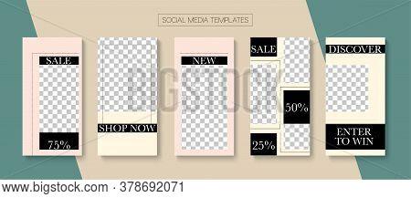 Mobile Stories Vector Collection. Online Shop Polygon Graphic Phone. Blogger Tech Design, Social Med