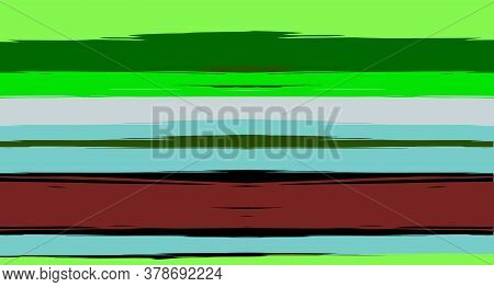 Green, Turquoise Vector Watercolor Sailor Stripes Cool Seamless Summer Pattern. Horizontal Brushstro