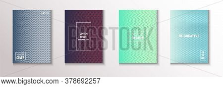 Wavy Minimal Cover Vector Set. Cool Technology Background. Light Magazine Page. Textured Gradient Ov