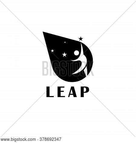 Leap Logo Simple Grey Stick People Motivation And Movement Illustration Icon For Design Idea