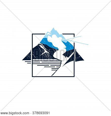 Ski Vector Modern Rustic Winter Skiing Square Badge Illustration For Sport Activities Sticker T-shir