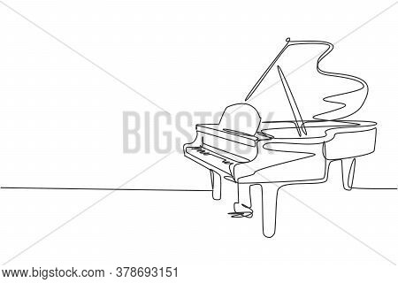 One Single Line Drawing Of Luxury Wooden Grand Piano. Modern Classical Music Instruments Concept Con
