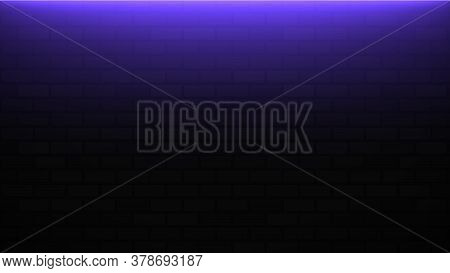 Empty Brick Wall With Purple Neon Light With Copy Space. Lighting Effect Purple Color Glow On Brick