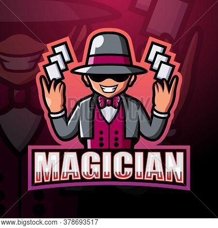Vector Illustration Of Magician Mascot Esport Logo Design