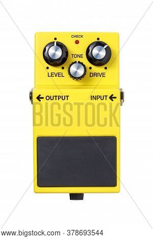 Stomp Box Electric Guitar Signal Over Drive Yellow Effects Foot Pedal Isolated On White Background W
