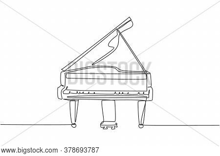 One Continuous Line Drawing Of Luxury Analog Grand Piano. Trendy Classical Music Instruments Concept
