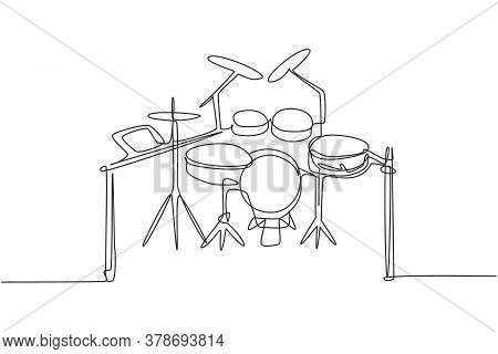 Continuous Single Line Drawing Of Electronic Drum Band Set. Modern Electric Digital Percussion Music