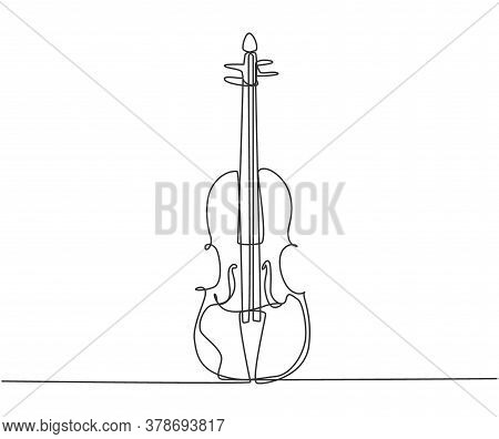 Single Continuous Line Drawing Of Violin On White Background. Trendy Stringed Music Instruments Conc