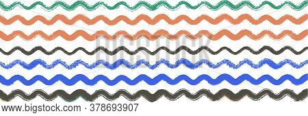 Cool Wavy Zigzag Stripes Vintage Pattern. Torn Vector Watercolor Paint Lines. Cool Distress Trace. S