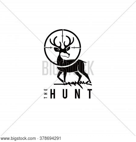 Deer Logo Playful Black Antler Silhouette Hunting Elk Vector Graphic Design Template Idea