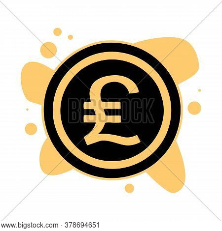 Image Of Pound Sterling Symbol In Circle, On Black Circle, Isolated On White