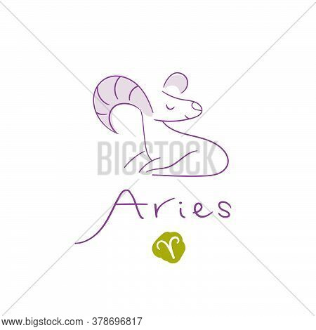 Aries Illustration, Handwriting, Symbol On White Background. Vector Illustration
